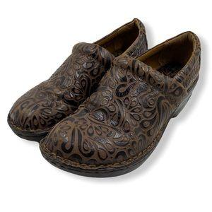 BOC brown leather design clogs